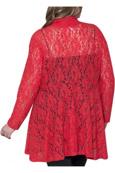 Womens Plain Long Sleeve Lace Crochet Plus Size Cardigan Red