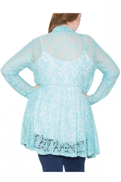 Womens Plain Long Sleeve Lace Crochet Plus Size Cardigan Turquoise