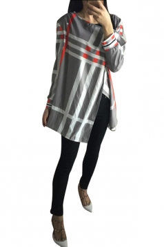 Womens Stylish 3/4 Length Sleeve Striped Asymmetric Cardigan Gray