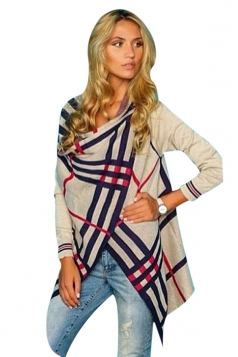 Womens Stylish 3/4 Length Sleeve Striped Asymmetric Cardigan Khaki