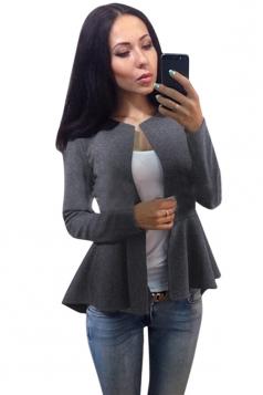 Womens Plain Round Collar Long Sleeve Asymmetrical Jacket Gray