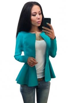 Womens Plain Round Collar Long Sleeve Asymmetrical Jacket Turquoise