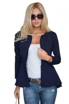 Womens Plain Round Collar Long Sleeve Asymmetrical Jacket Navy Blue