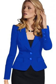 Womens Plain Turndown Collar Two Buttons Design Blazer Sapphire Blue