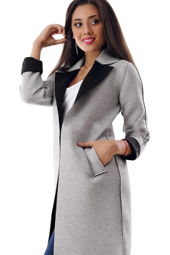 Womens Turndown Collar Long Sleeve Patchwork Woolen Coat Black