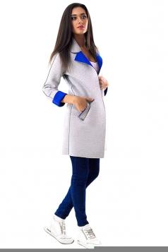 Womens Turndown Collar Long Sleeve Patchwork Woolen Coat Sapphire Blue