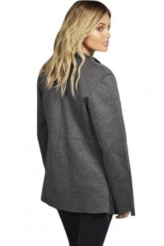 Womens Stylish Long Sleeve Turndown Collar Warm Woolen Coat Gray