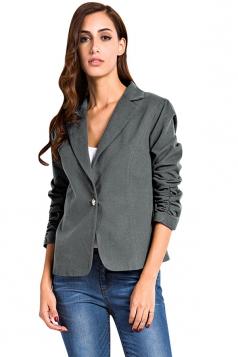 Womens Plain Turndown Collar One Button Design Blazer Gray