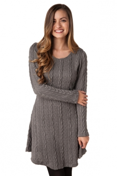Womens Plain Long Sleeve Crew Neck Cable Knit Sweater Dress Gray