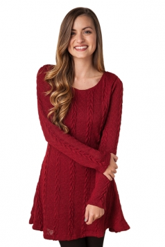 Womens Plain Long Sleeve Crew Neck Cable Knit Sweater Dress Ruby
