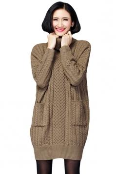Womens Plain Turtleneck Long Sleeve Cable Knit Sweater Dress Khaki