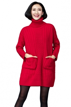 Womens Plain Turtleneck Long Sleeve Cable Knit Sweater Dress Red