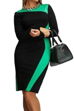 Womens Long Sleeve Plus Size Color Block Patchwork Dress Green