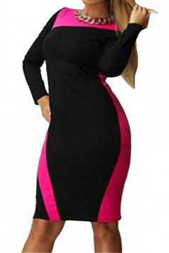 Womens Long Sleeve Plus Size Color Block Patchwork Dress Rose Red