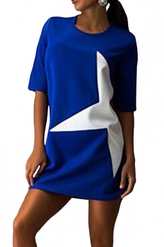 Womens Half Sleeve Five-pointed Star Print Shift Dress Sapphire Blue