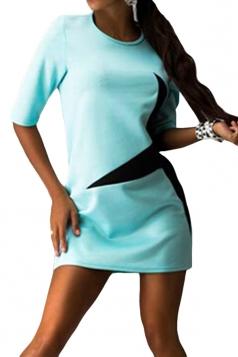 Womens Crewneck Half Sleeve Five-pointed Star Print Shift Dress Blue