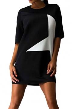 Womens Crewneck Half Sleeve Five-pointed Star Print Shift Dress Black