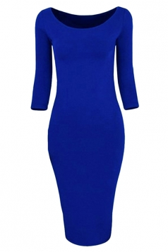 Womens Plain Crewneck 3/4 Sleeve Knitted Bodycon Dress Sapphire Blue