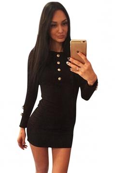Womens Plain Round Neck Long Sleeve Button Decor Slim Dress Black