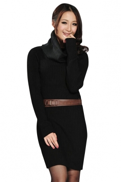 Womens Slim Plain Turtleneck Long Sleeve Pullover Sweater Dress Black
