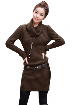 Womens Slim Plain Turtleneck Long Sleeve Pullover Sweater Dress Coffee
