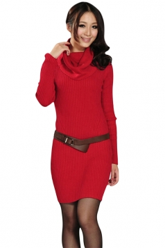 Womens Slim Plain Turtleneck Long Sleeve Pullover Sweater Dress Red