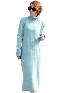 Womens Plain Turtleneck Long Sleeve Slit Thick Sweater Dress Blue