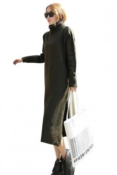 Womens Plain Turtleneck Long Sleeve Slit Thick Sweater Dress Green