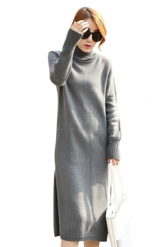 Womens Plain Turtleneck Long Sleeve Slit Thick Sweater Dress Gray