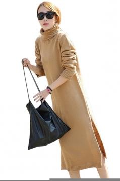 Womens Plain Turtleneck Long Sleeve Slit Thick Sweater Dress Khaki