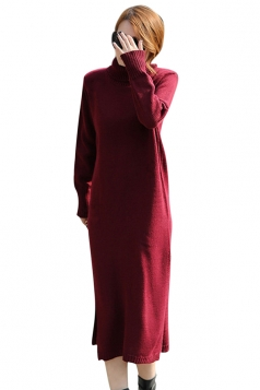 Womens Plain Turtleneck Long Sleeve Slit Thick Sweater Dress Ruby
