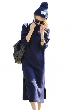 Womens Plain Turtleneck Long Sleeve Slit Thick Sweater Dress Navy Blue