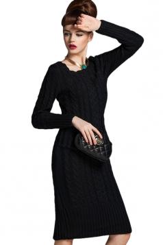 Womens Slim Plain Round Neck Long Sleeve Pockets Sweater Dress Black