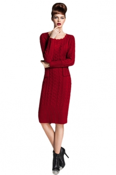 Womens Slim Plain Round Neck Long Sleeve Pockets Sweater Dress Ruby