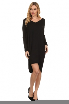 Womens Plain V Neck Batwing Long Sleeve High Low Loose Dress Black