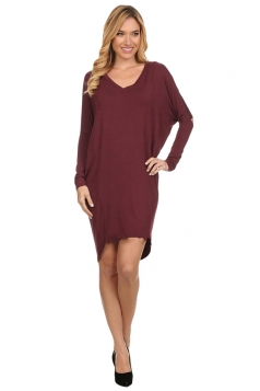Womens Plain V Neck Batwing Long Sleeve High Low Loose Dress Ruby