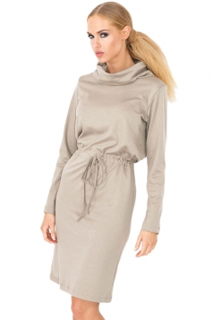 Womens Plain Long Sleeve Turtleneck Tie-waisted Midi Dress Gray