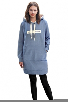 Womens Letter Print Long Sleeve Pockets Hooded Thick Warm Dress Blue