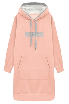 Womens Letter Print Long Sleeve Pockets Hooded Thick Warm Dress Pink
