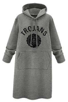 Womens Letter Print Long Sleeve Pockets Hooded Lined Warm Dress Gray