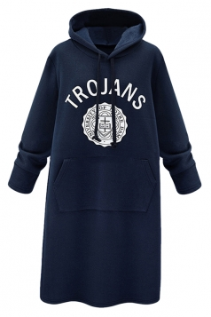 Womens Letter Print Long Sleeve Pockets Hooded Lined Dress Navy Blue