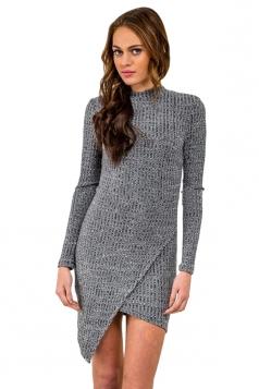 Womens Plain Long Sleeve Backless Irregular Knit Sweater Dress Gray