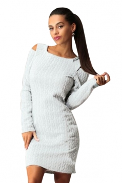 Womens Plain Long Sleeve Cut Out Cable Knit Pattern Dress White