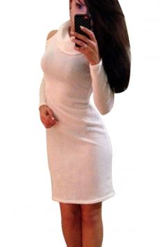 Womens Plain Off Shoulder Turtleneck Long Sleeve Bodycon Dress White