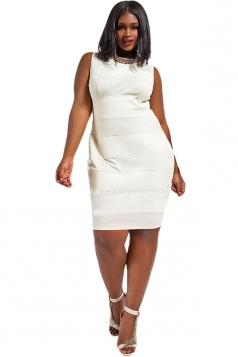 Womens Plain Sleeveless Zipper Back Patchwork Plus Size Dress White