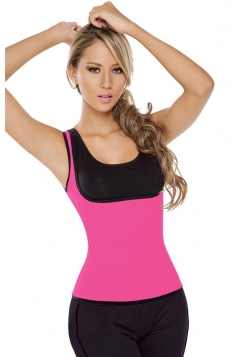 Womens Slimming Reversible Zipper Side Waist Training Corset Rose Red