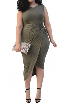 Womens Plain Sleeveless Pleated Irregular Plus Size Dress Green