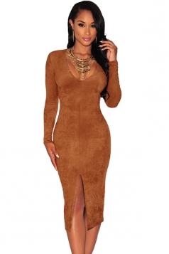 Womens Plain Deep V Neck Long Sleeve Slit Sexy Clubwear Dress Brown