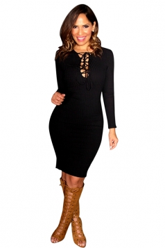 Womens Plain Long Sleeve Lace Up Sexy Bodycon Dress Black