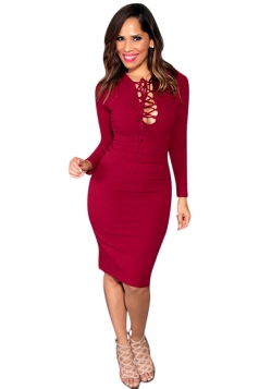 Womens Plain Long Sleeve Lace Up Sexy Bodycon Dress Red